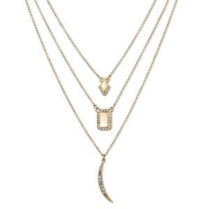 Jewelry - Three Layer Necklace-- Diamond, Square, and Moon